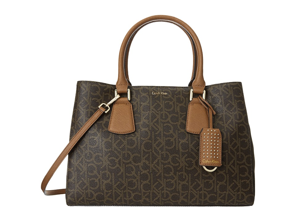 Calvin Klein - Kate Monogram Satchel (Brown/Khaki/Luggage) Satchel Handbags