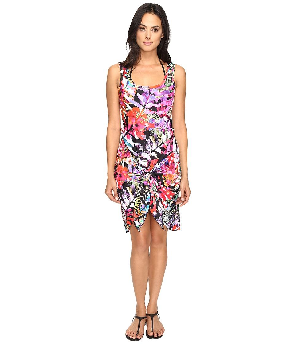 Nicole Miller - La Plage by Nicole Miller Tropical Palms Wrap Dress Cover-Up (Multi) Women's Swimwear