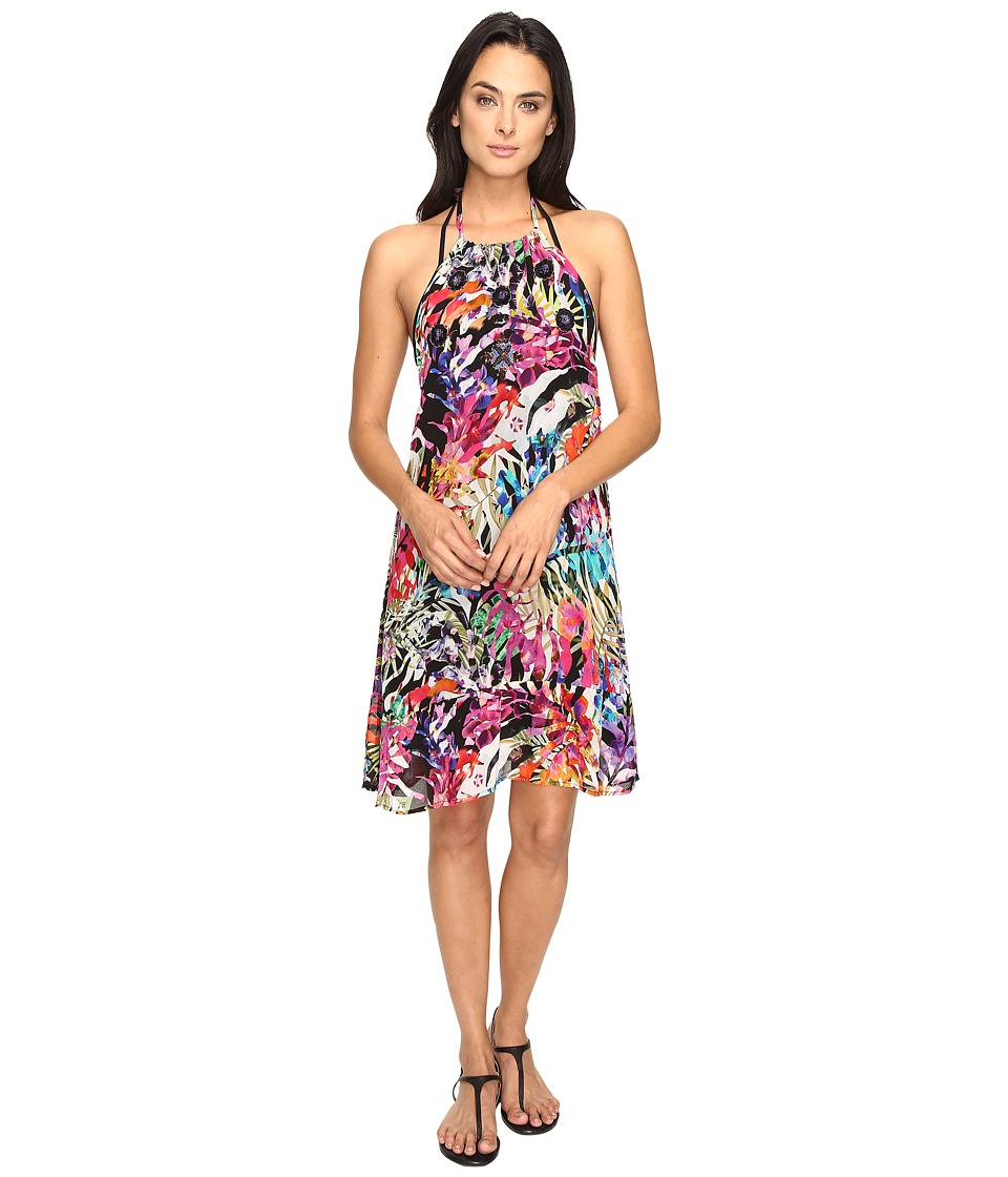 Nicole Miller - La Plage by Nicole Miller Tropical Palms Halter Dress Cover-Up (Multi) Women's Swimwear