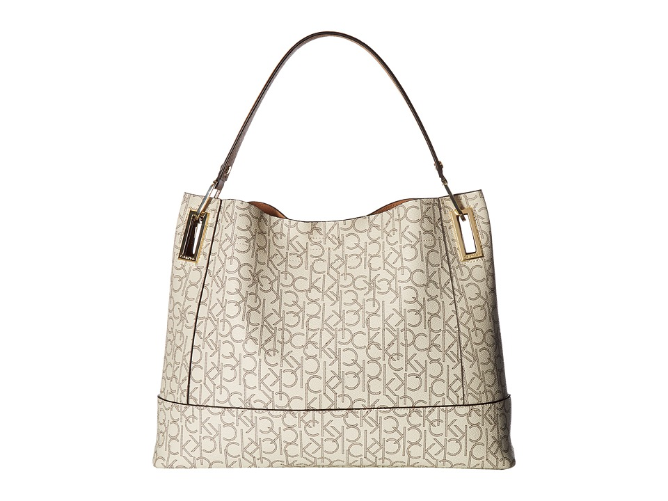 Calvin Klein - Logo Hobo (Almond/Khaki/Cashew) Hobo Handbags