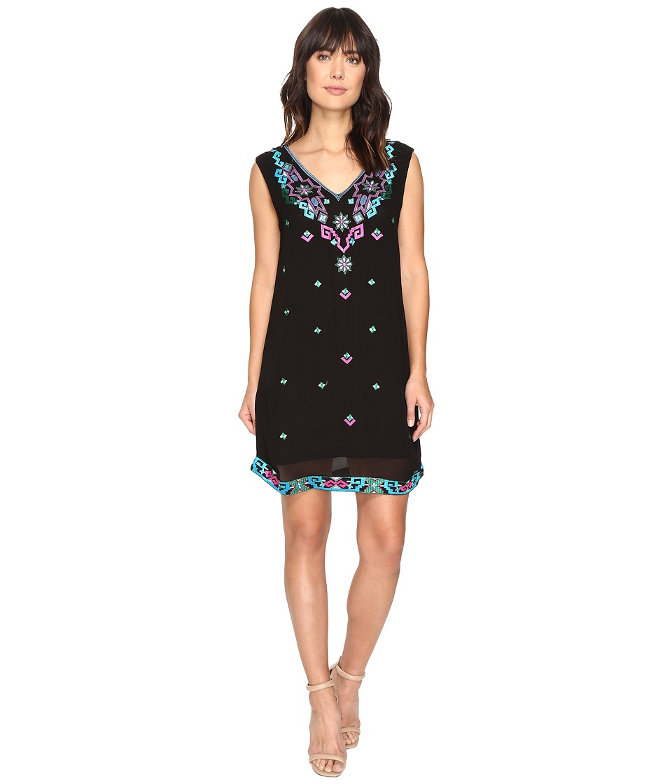 Nicole Miller - La Plage by Nicole Miller Aztec Embroidery Dress Cover-Up (Black Multi) Women's Swimwear