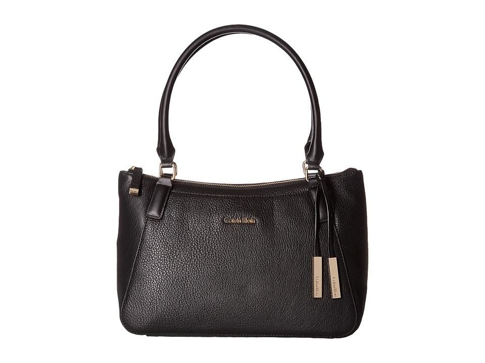 Calvin Klein - Classics Pebble Satchel (Black/Gold) Satchel Handbags