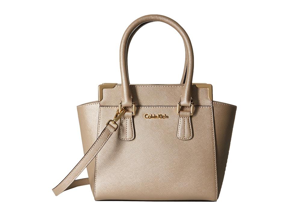 Calvin Klein - Saffiano Crossbody (Metallic Taupe) Shoulder Handbags