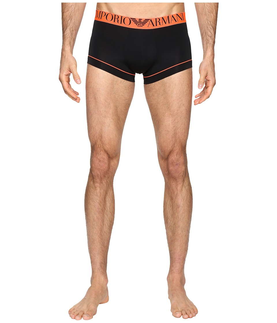 Emporio Armani - Fluo Piping Microfiber Trunk (Black) Men's Underwear