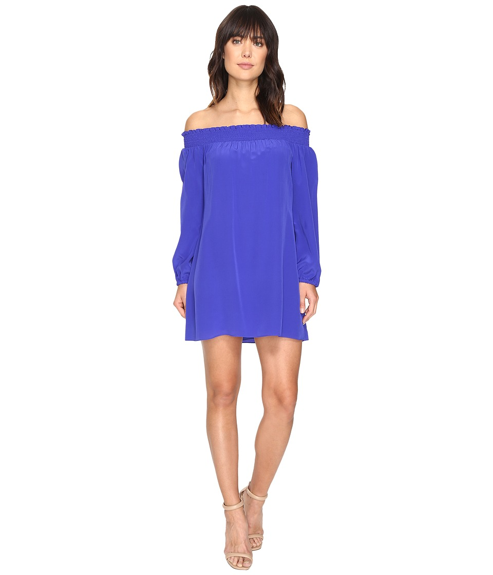 Nicole Miller - La Plage by Nicole Miller Rocky Off Shoulder Dress Cover-Up (Blueberry) Women's Swimwear