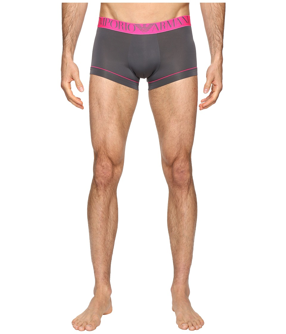 Emporio Armani - Fluo Piping Microfiber Trunk (Anthracite Grey) Men's Underwear