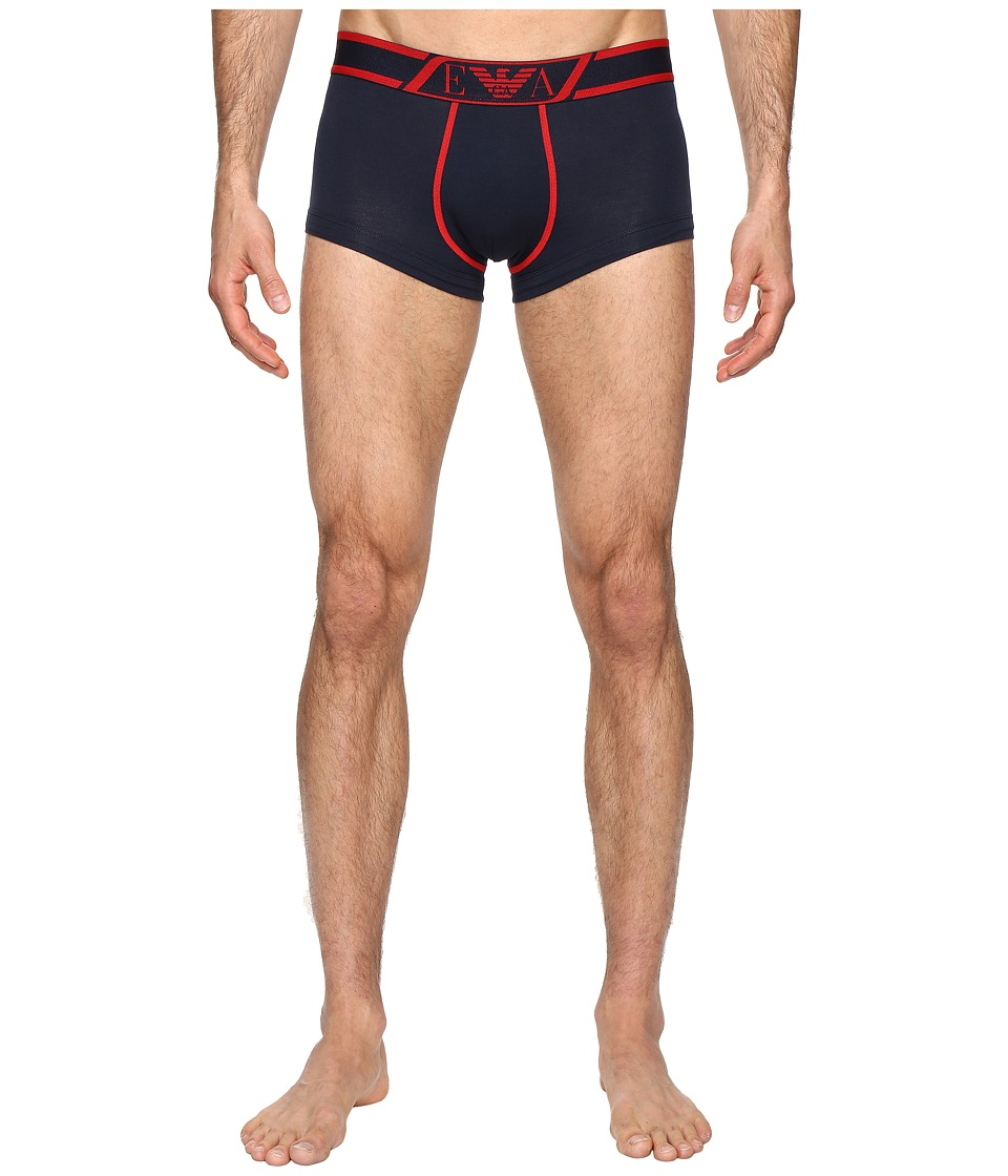 Emporio Armani - Striped Logo Band Trunk (Marine) Men's Underwear