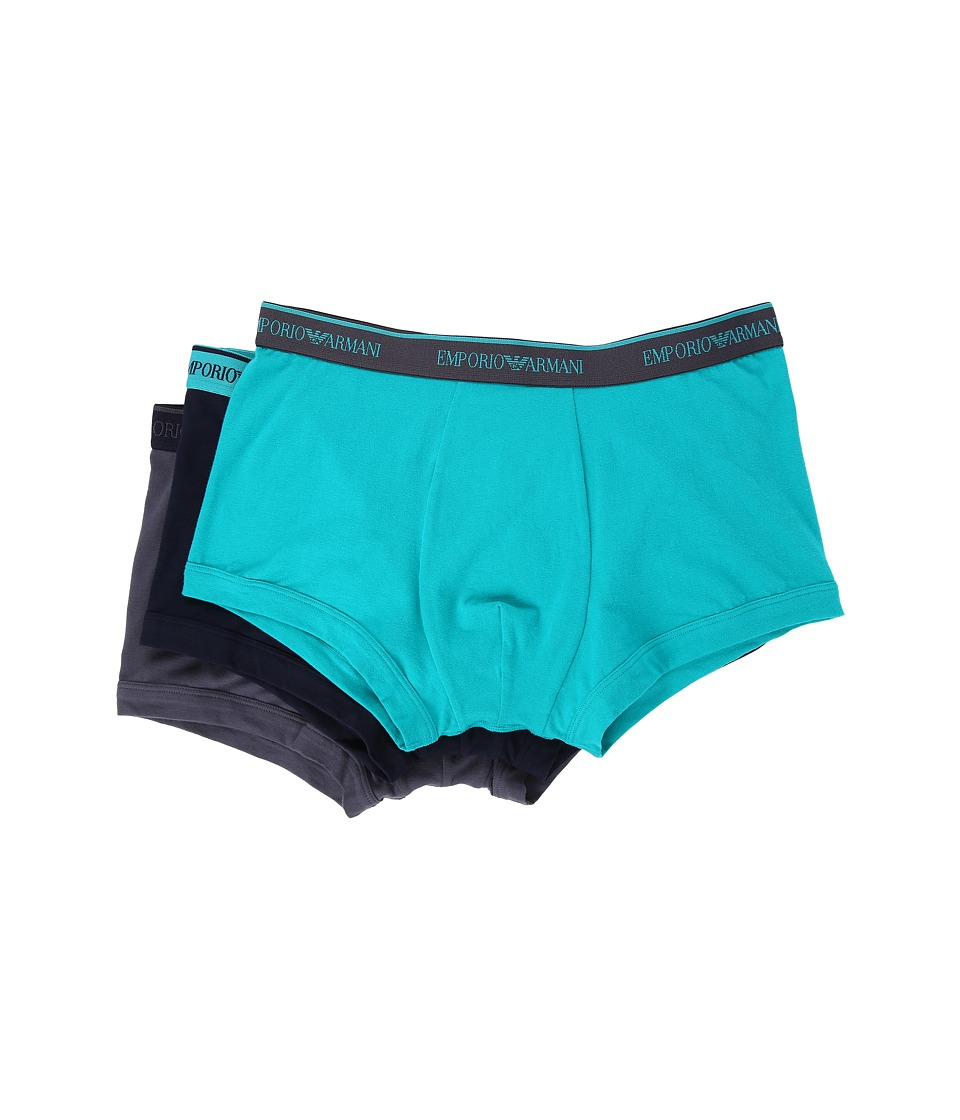 Emporio Armani - 3-Pack Color Stretch Cotton Trunk (Marine/Lagoon/Anthracite) Men's Underwear