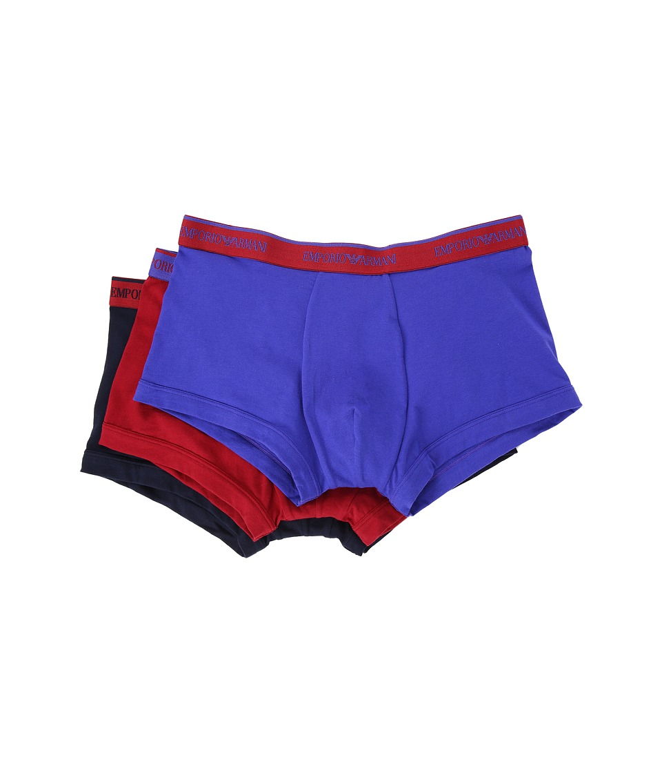 Emporio Armani - 3-Pack Color Stretch Cotton Trunk (Marine/Red Currant/Ink) Men's Underwear