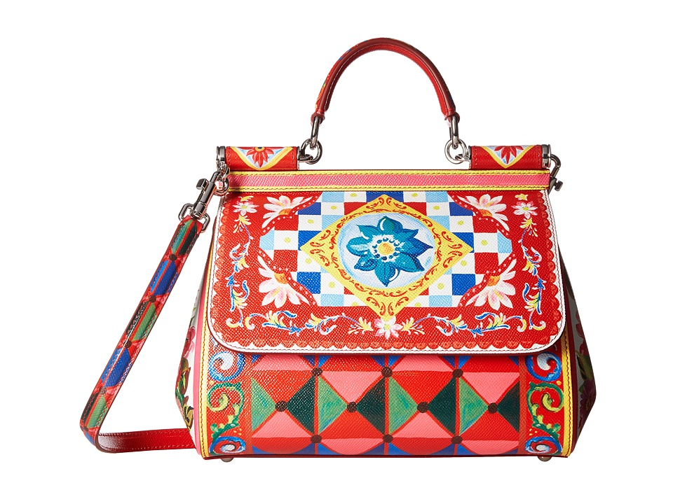 Dolce & Gabbana - Printed Leather Miss Sicily Medium (St. Leather) Satchel Handbags