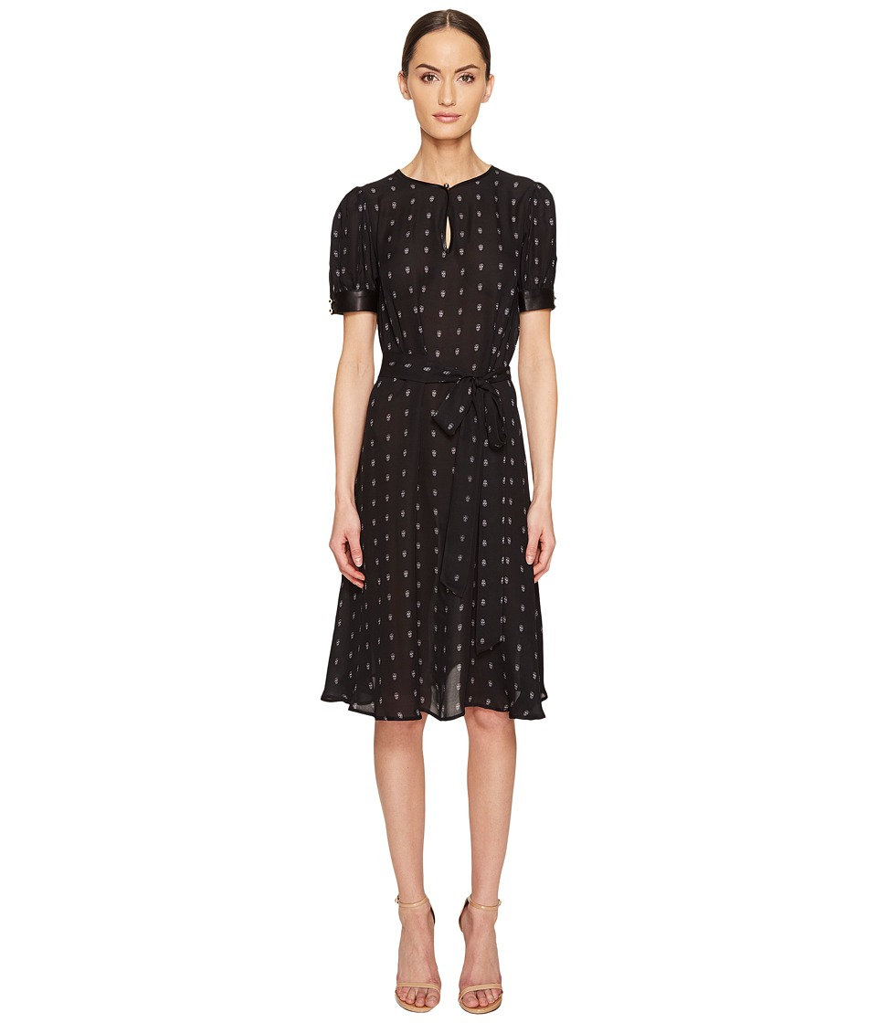 THOMAS WYLDE Alyssum Silk Georgette Printed Short Sleeve Dress