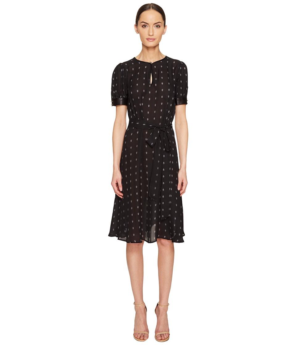 THOMAS WYLDE - Alyssum Silk Georgette Printed Short Sleeve Dress (Black Opal) Women's Dress