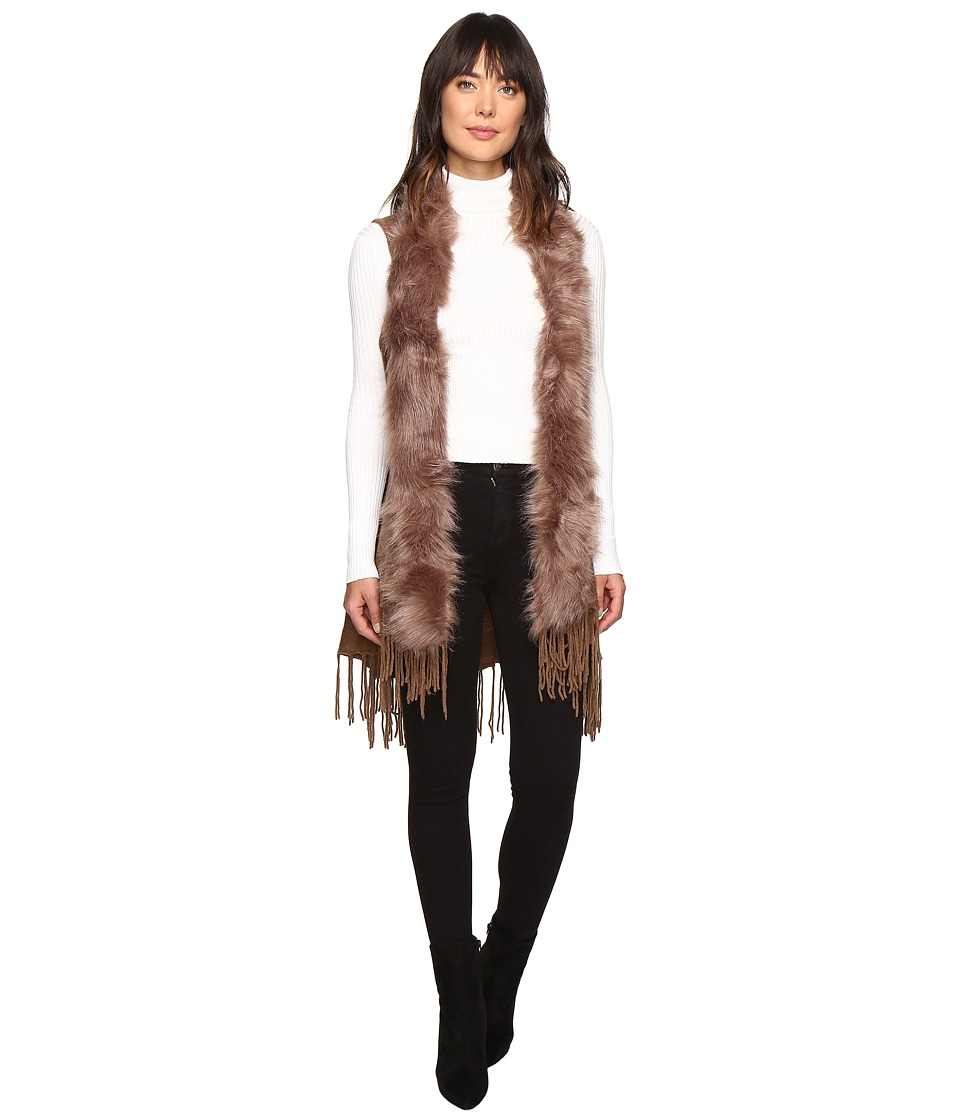 Christin Michaels - Syden Vest with Faux Fur Collar (Taupe) Women's Vest