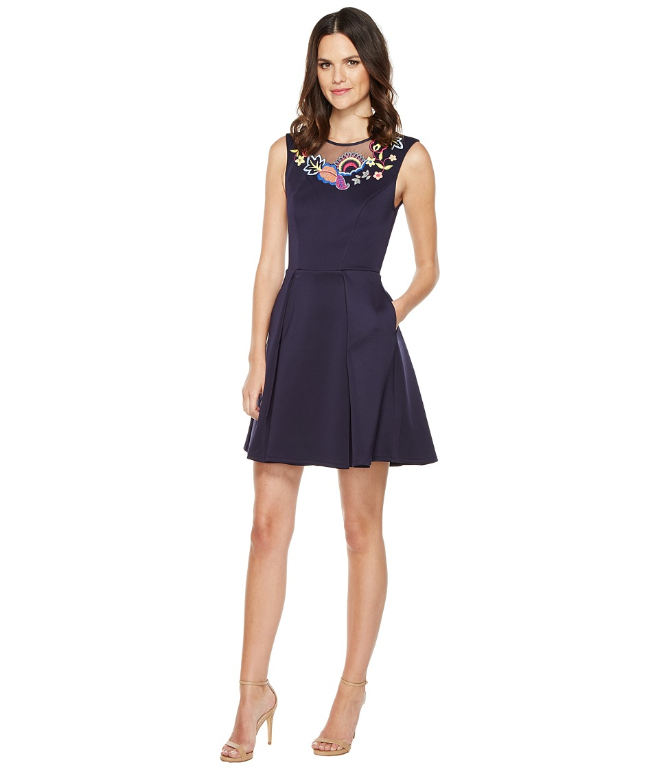 Ted Baker - Lavensa Folk Foliage Neoprene Skater Dress (Dark Blue) Women's Dress