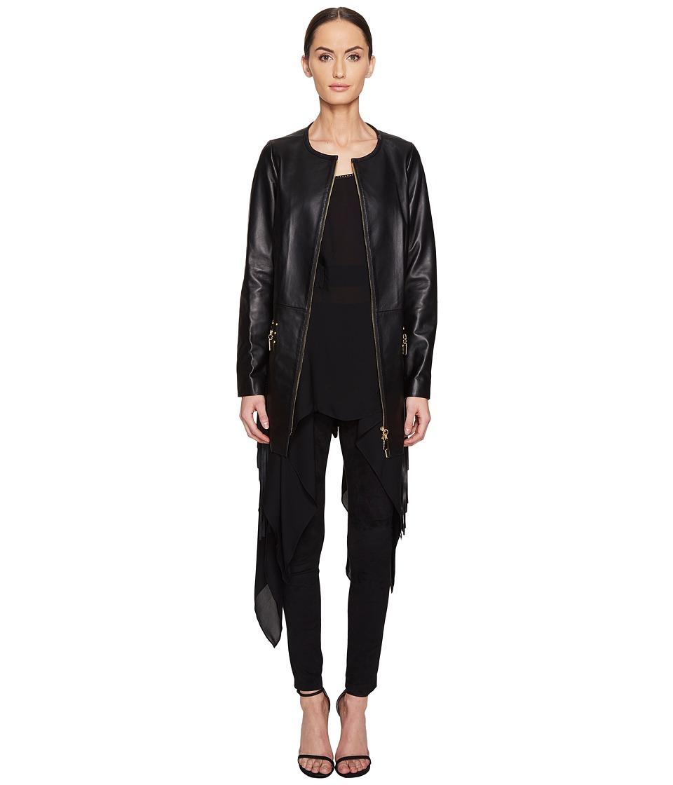 THOMAS WYLDE - Hyssop Fringe Leather Jacket (Black Opal) Women's Coat