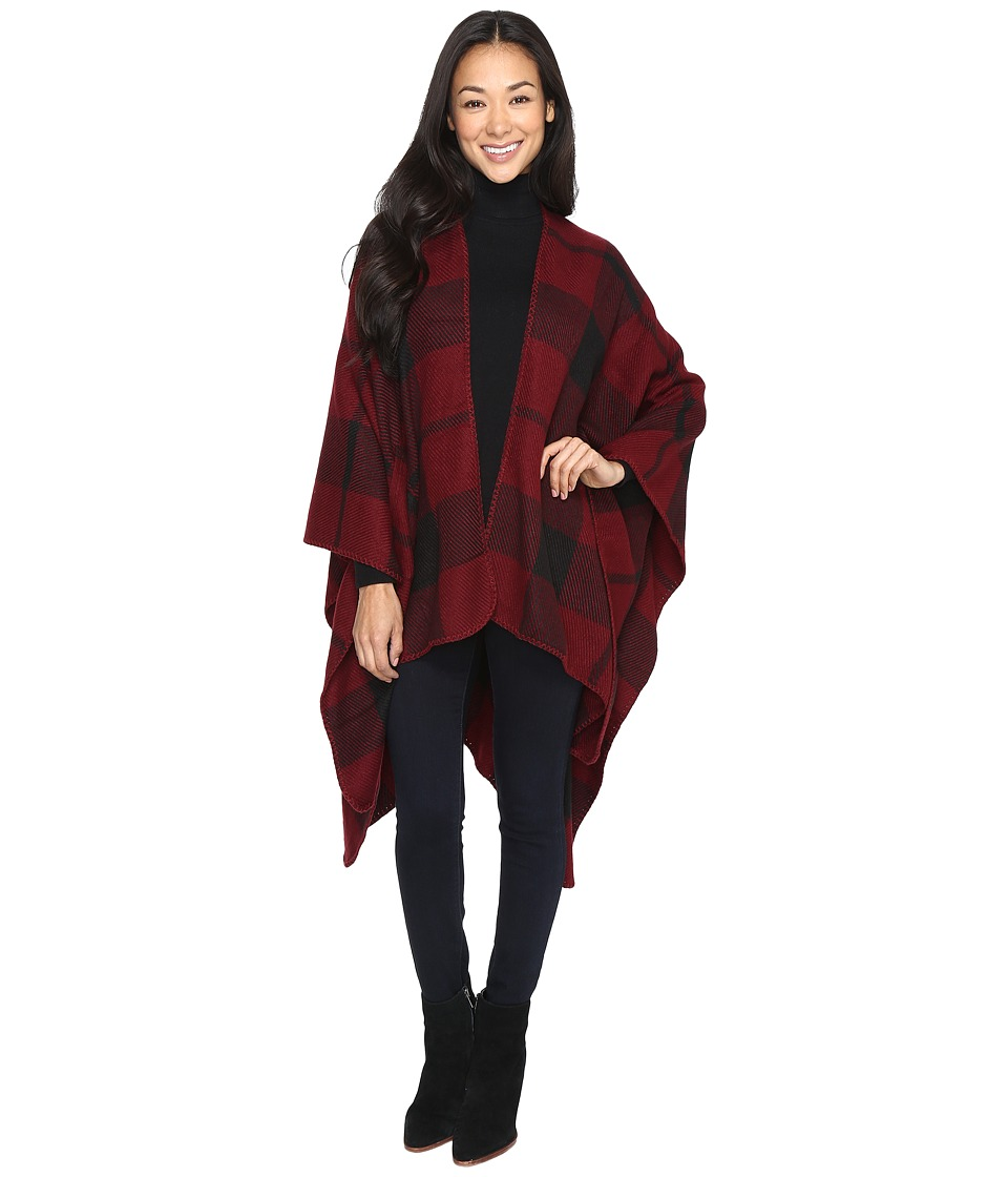 Brigitte Bailey - Ulani Plaid Shawl with Pocket (Burgundy) Women's Clothing