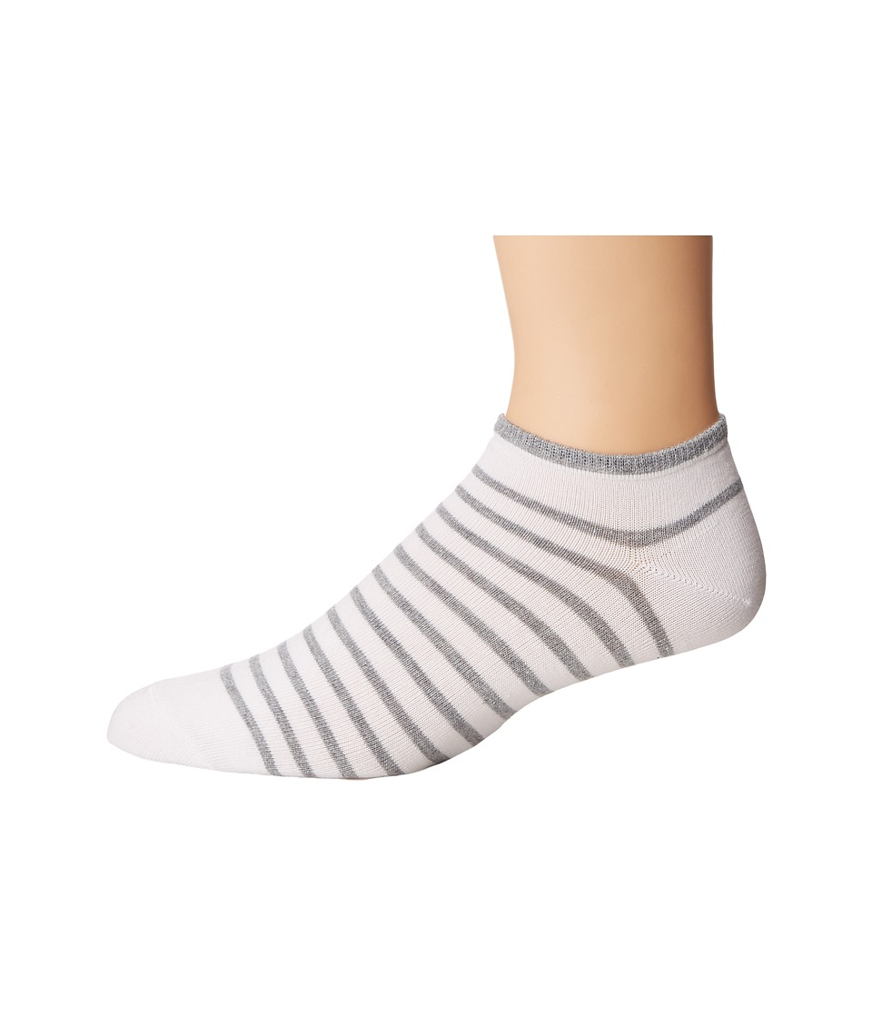 Falke - Nautical Stripe Sneaker (White/Grey) Men's Crew Cut Socks Shoes