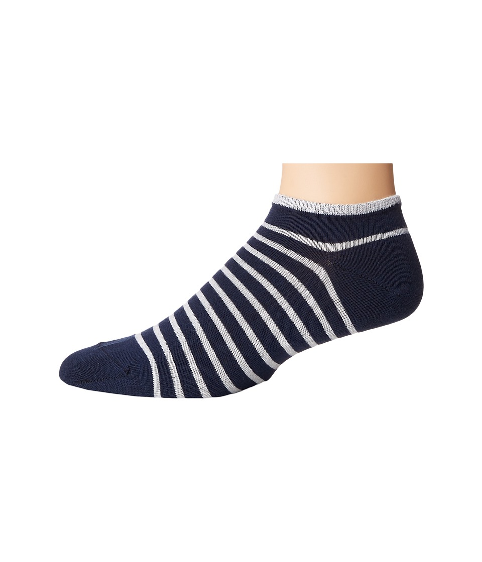 Falke - Nautical Stripe Sneaker (Marine/White) Men's Crew Cut Socks Shoes