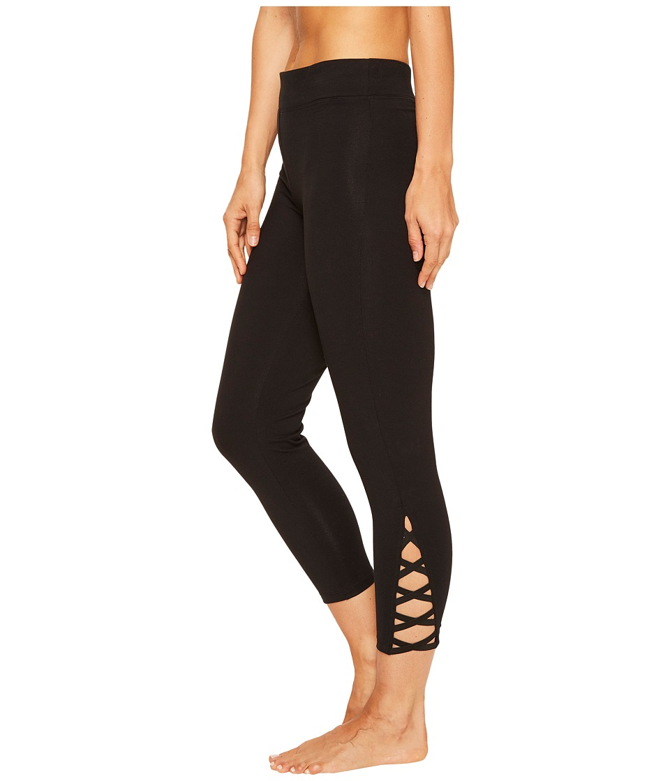 Yummie - Cotton Control Skimmer Leggings with Leg Detail (Black) Women's Casual Pants