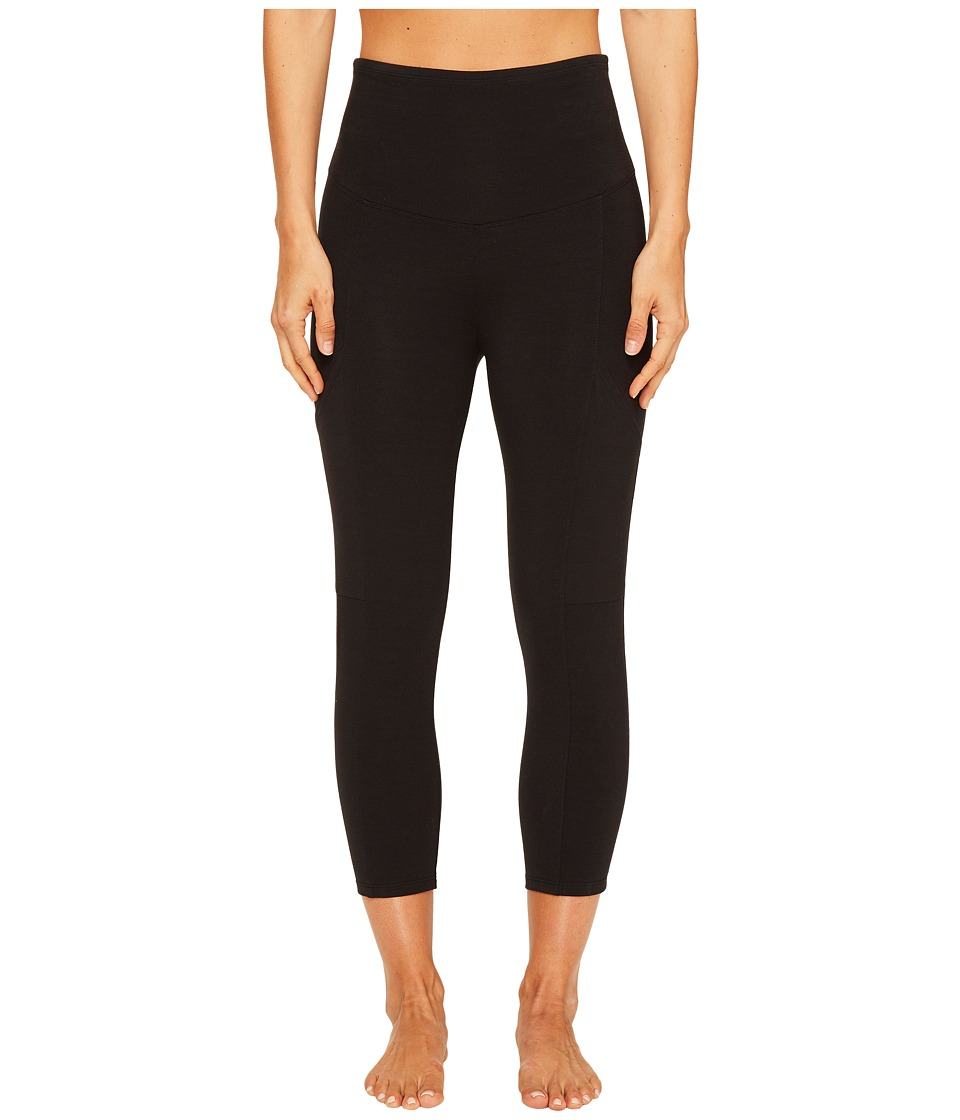Yummie by Heather Thomson - Cotton Control 3/4 Leggings with Side Pocket (Black) Women's Casual Pants