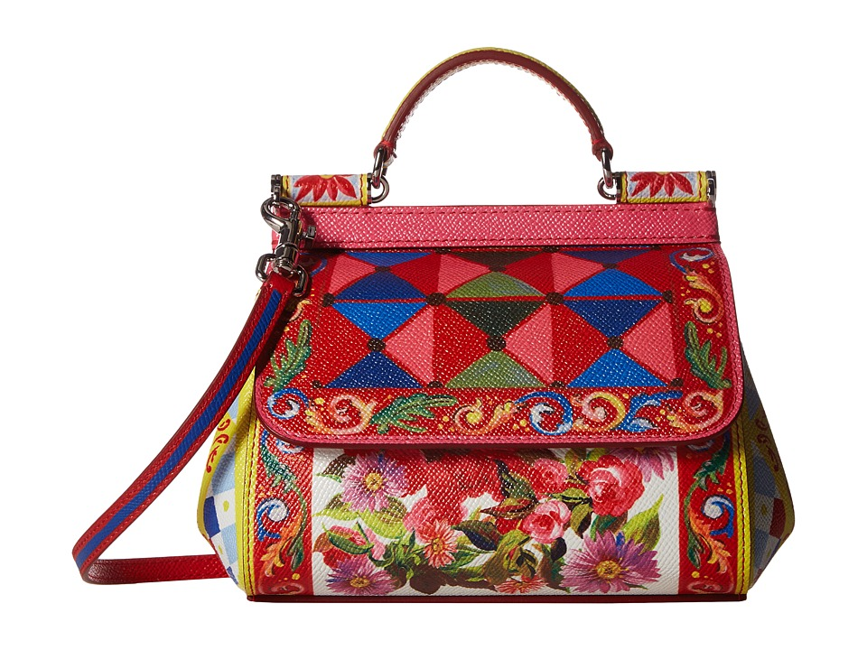 Dolce & Gabbana - Printed Leather Miss Sicily Mini Bag (Carretto/Rose) Satchel Handbags