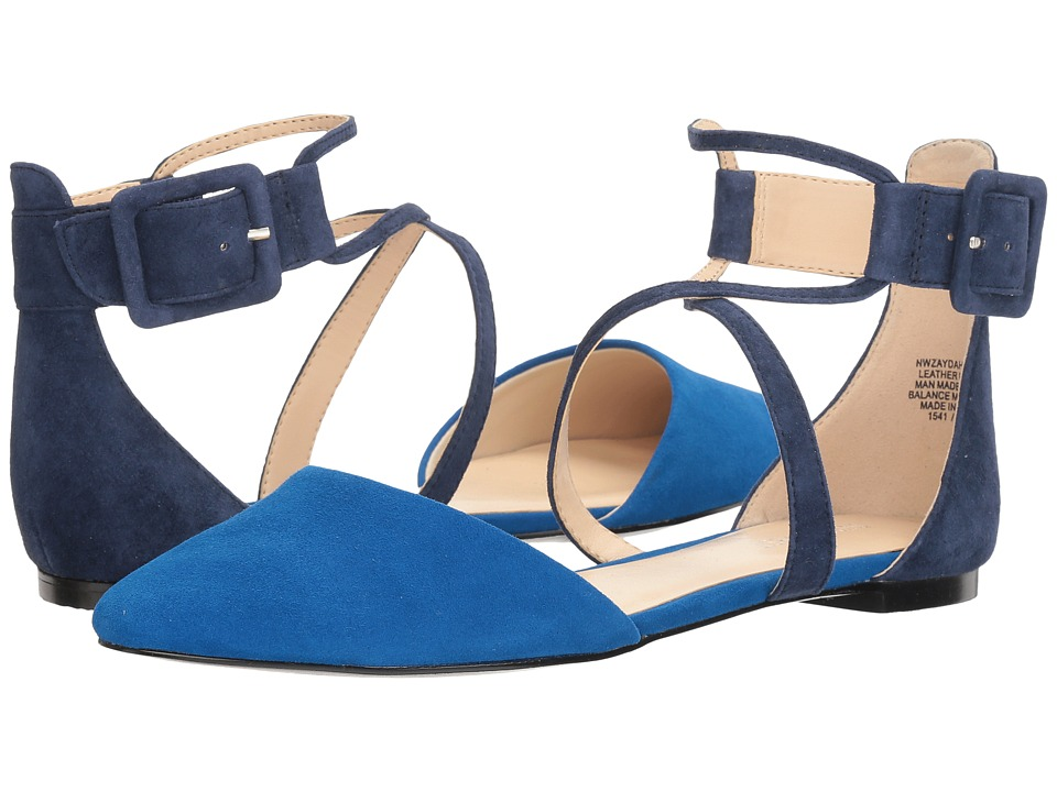 Nine West - Zaydah (Electric Blue Kid Leather/Moody Blue Suede/Black Suede) Women's Shoes
