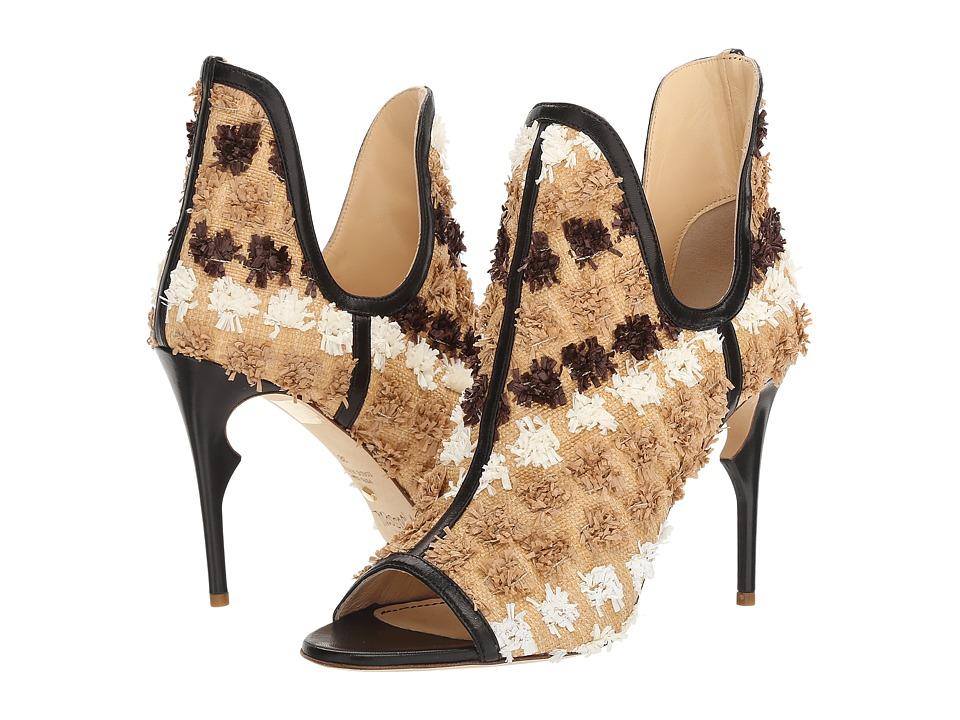 Jerome C. Rousseau - Jujo Pom Pom Bootie (Natural/Raffia Black) High Heels