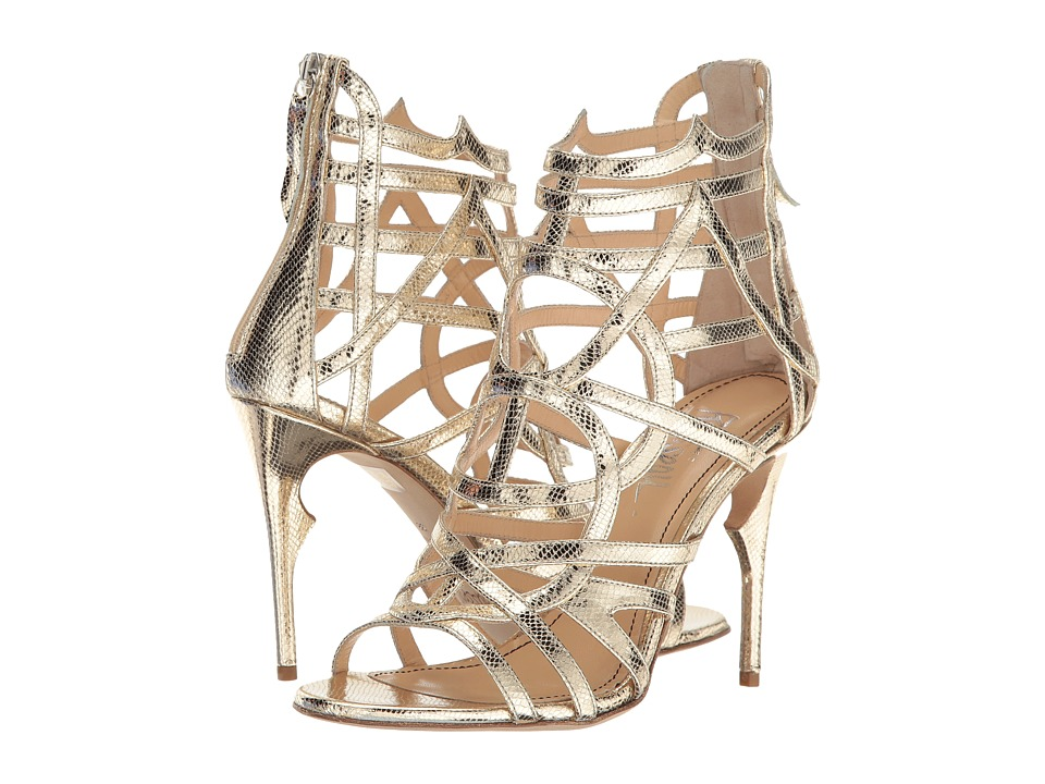 Jerome C. Rousseau Metallic Leather Snake Stamp Heel (Gold) High Heels
