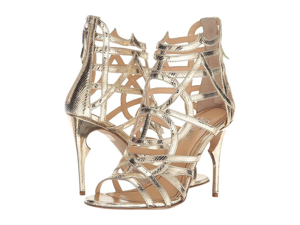 Jerome C. Rousseau - Metallic Leather Snake Stamp Heel (Gold) High Heels