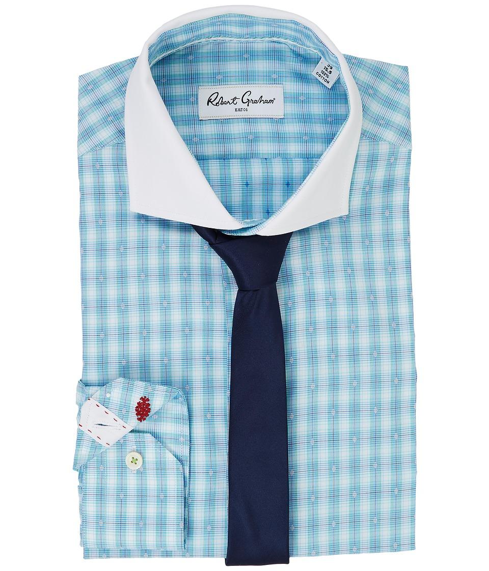 Robert Graham - Forbes Dress Shirt (Aqua) Men's Long Sleeve Button Up