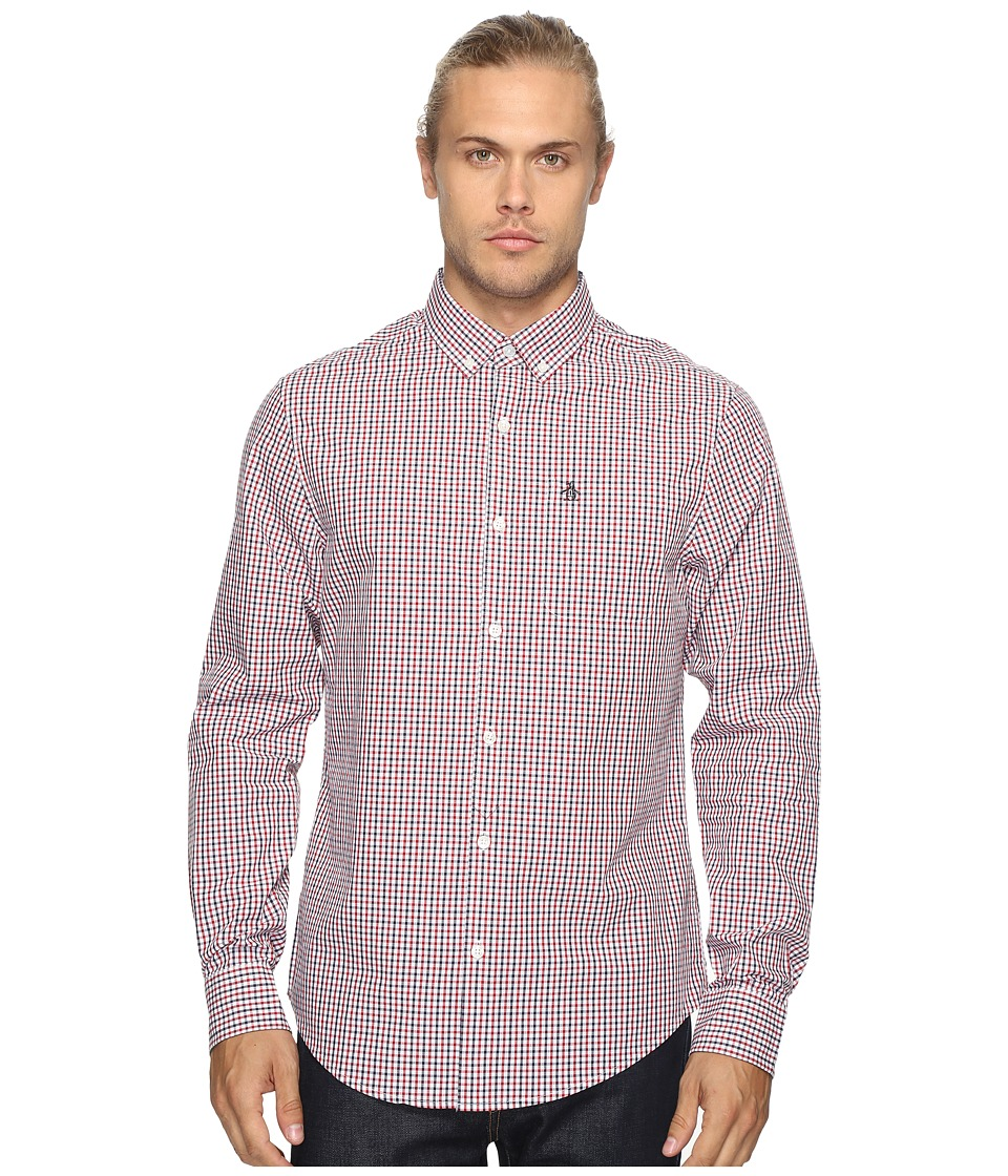 Original Penguin - Long Sleeve Core Tricolor Gingham Woven Shirt (Dark Sapphire) Men's Long Sleeve Button Up