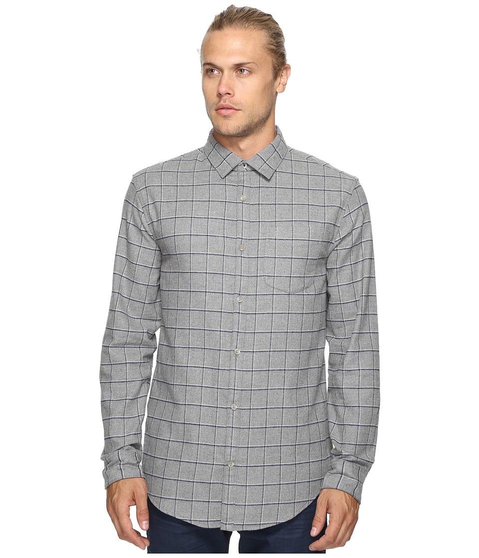 Original Penguin - Long Sleeve Heathered Windowpane Woven Shirt (Griffin) Men's Long Sleeve Button Up
