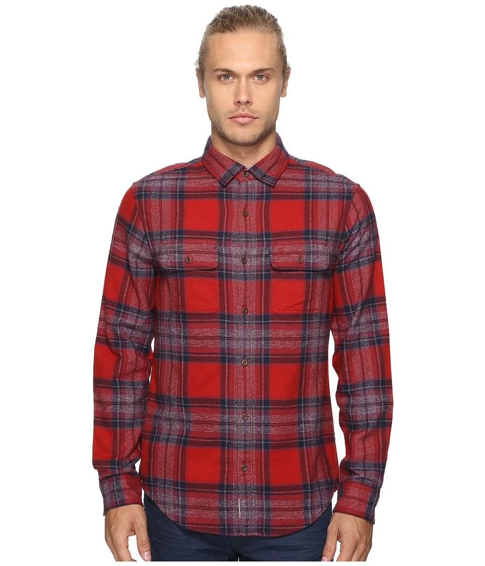 Original Penguin - Long Sleeve Twisted Yarn Flannel Woven Shirt (Red Dahlia) Men's Long Sleeve Button Up