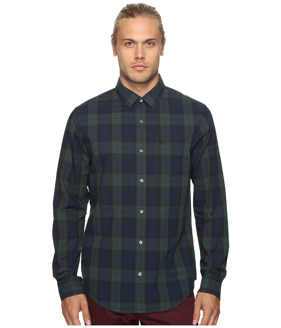 Original Penguin - Long Sleeve P55 Blackwatch Plaid Woven Shirt (Darkest Spruce) Men's Long Sleeve Button Up