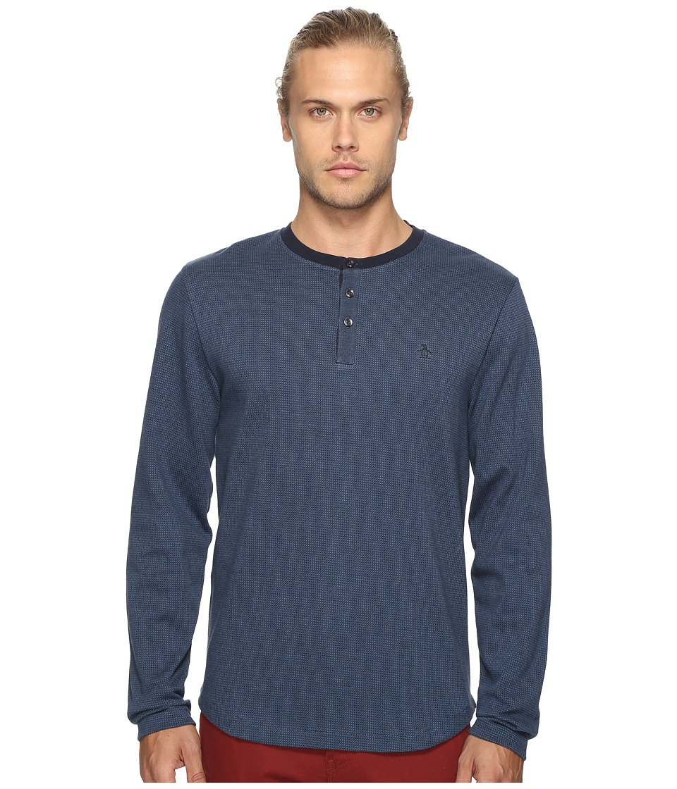 Original Penguin - Long Sleeve Wool Look Herringbone Tee (Dark Sapphire) Men's T Shirt