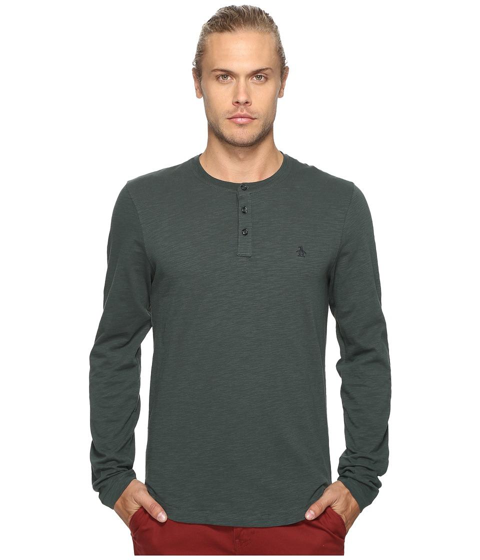Original Penguin - Long Sleeve Sueded Slub Henley (Darkest Spruce) Men's Long Sleeve Pullover