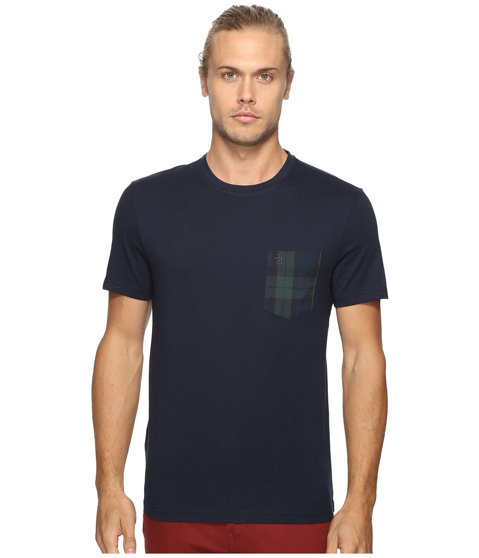 Original Penguin - Short Sleeve Black Watch Pocket Tee (Dark Sapphire) Men's T Shirt