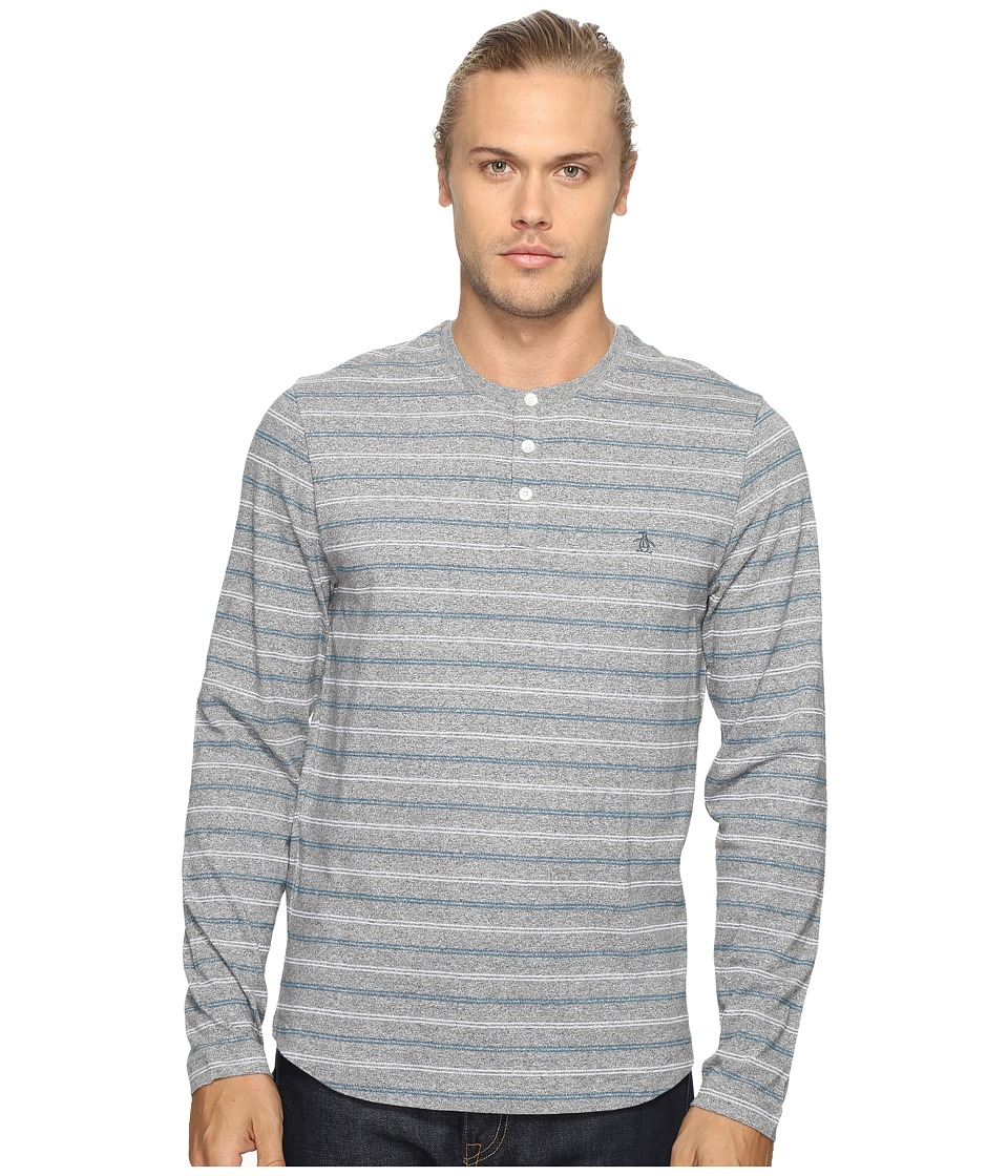 Original Penguin - Long Sleeve Marled Striped Henley (Monument) Men's Long Sleeve Pullover