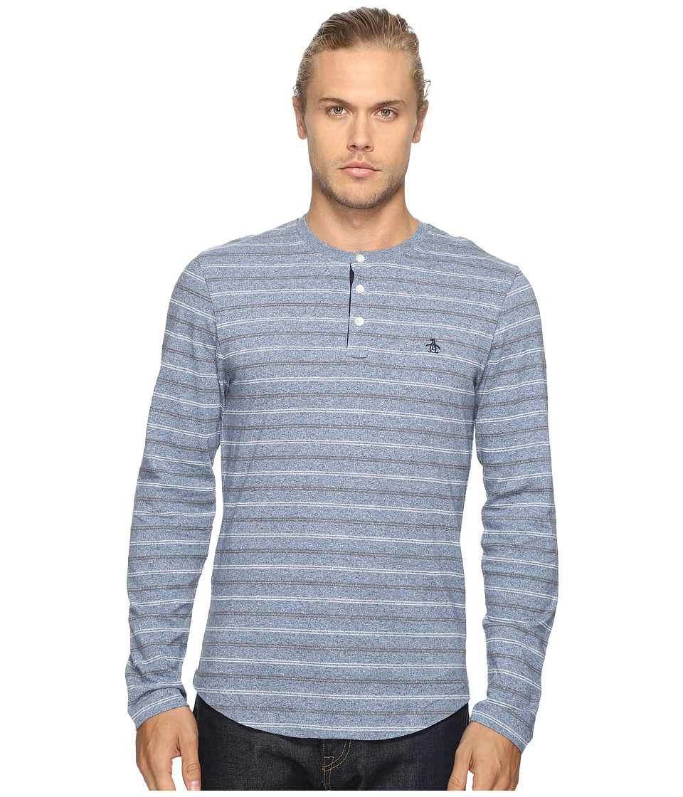 Original Penguin - Long Sleeve Marled Striped Henley (Bering Sea) Men's Long Sleeve Pullover
