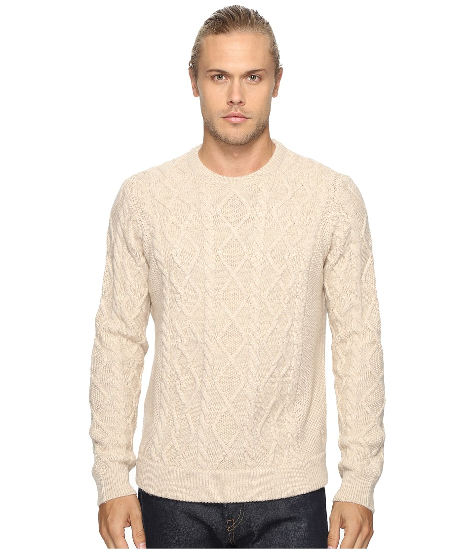 Original Penguin - Long Sleeve Wool Alpaca Fisherman Sweater (Silver Gray) Men's Sweater