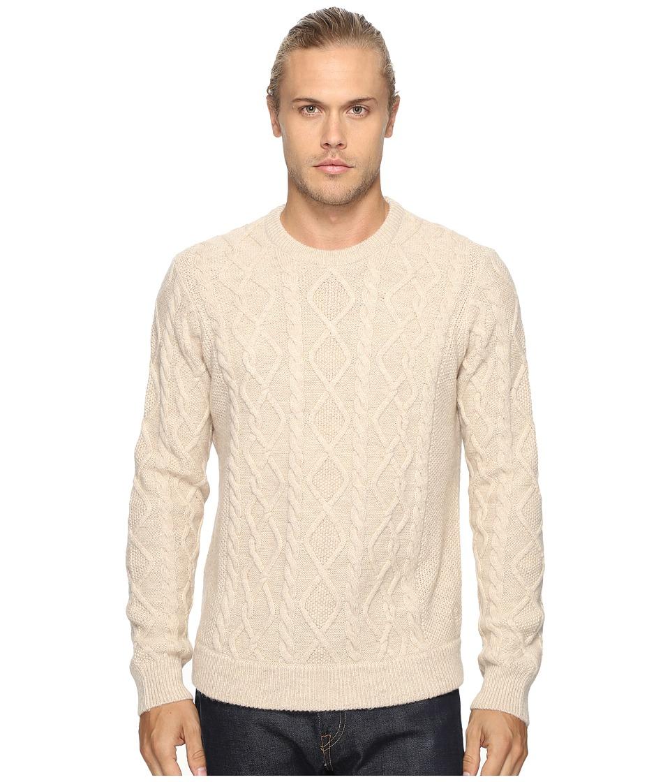 Original Penguin - Long Sleeve Wool Alpaca Fisherman Sweater (Silver Gray) Men's Sweater