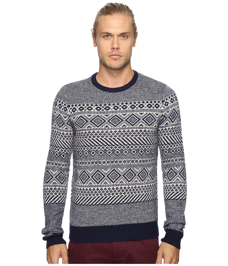 Original Penguin - Long Sleeve Lambswool Sweater (Silver Gray) Men's Sweater
