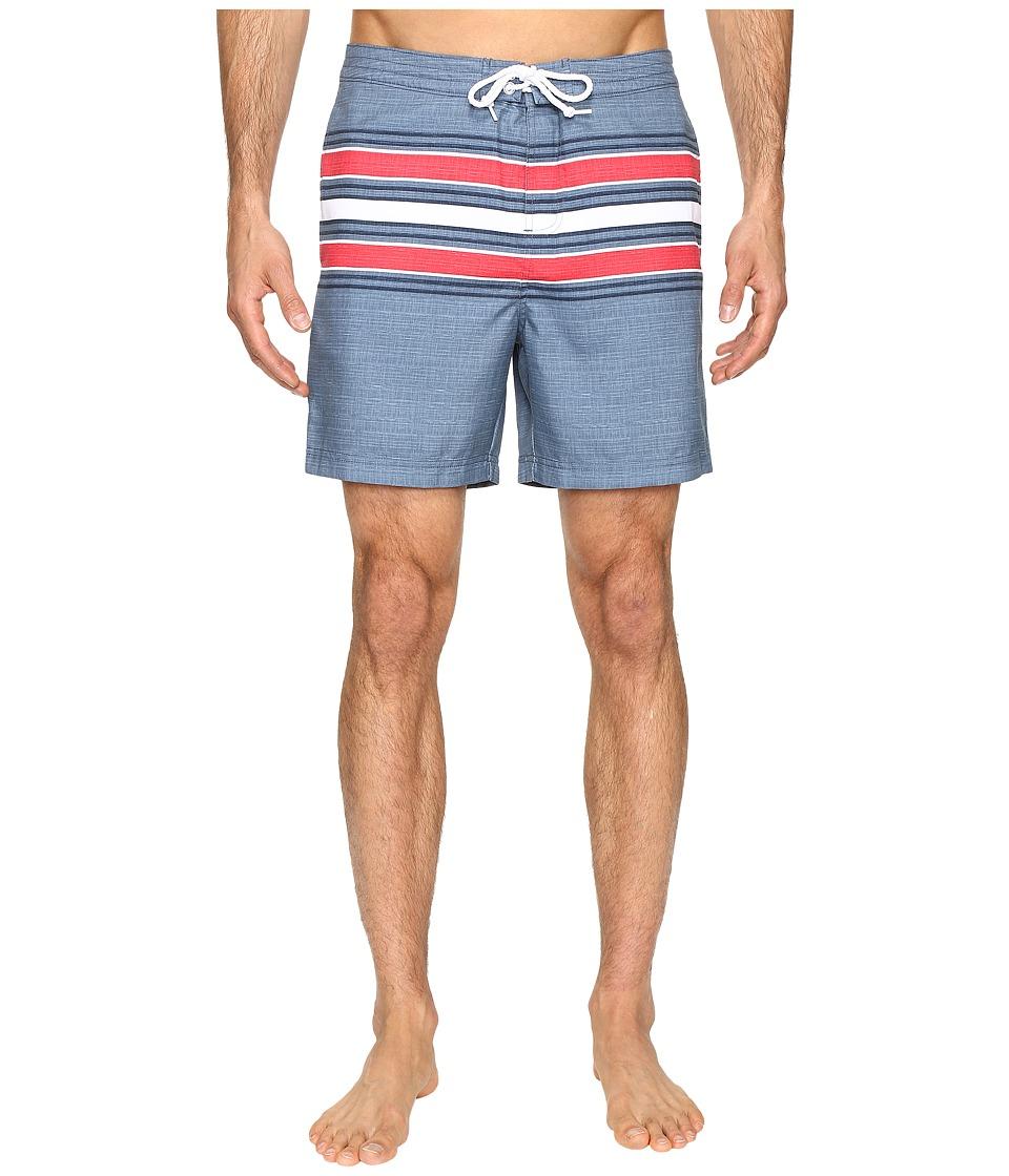 Original Penguin Engineered Stripe Print Swim Shorts (Bering Sea) Men