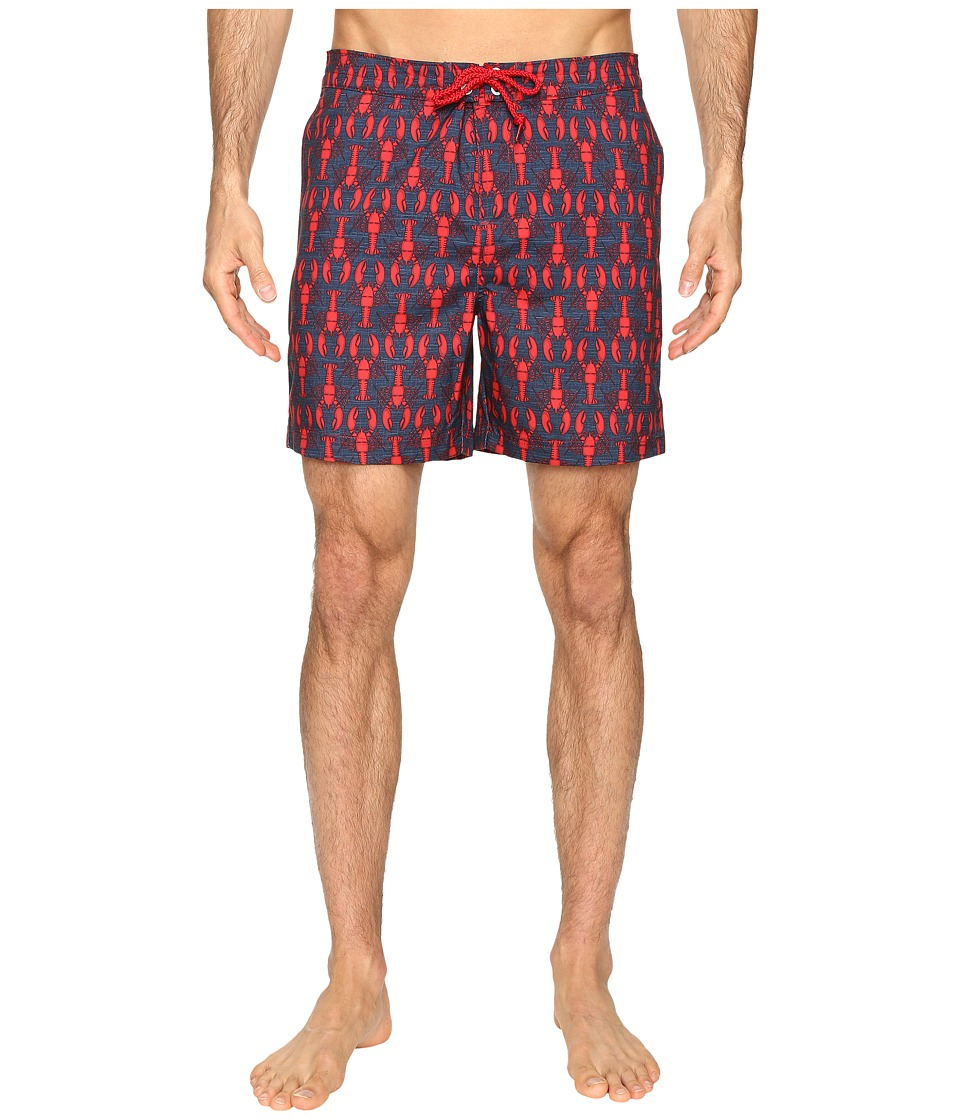 Original Penguin - Lobster Print Fixed Waist Swim Shorts (Red Dahlia) Men's Swimwear