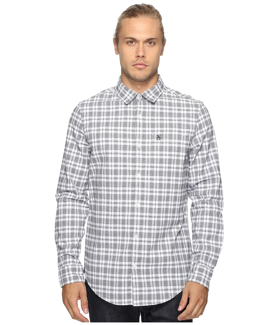 Original Penguin - Long Sleeve Jaspe Plaid Oxford Woven Shirt (True Black) Men's Long Sleeve Button Up