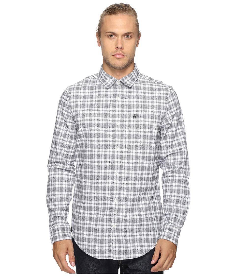 Original Penguin - Long Sleeve Jaspe Plaid Oxford Woven Shirt (True Black) Men's Long Sleeve Button Up