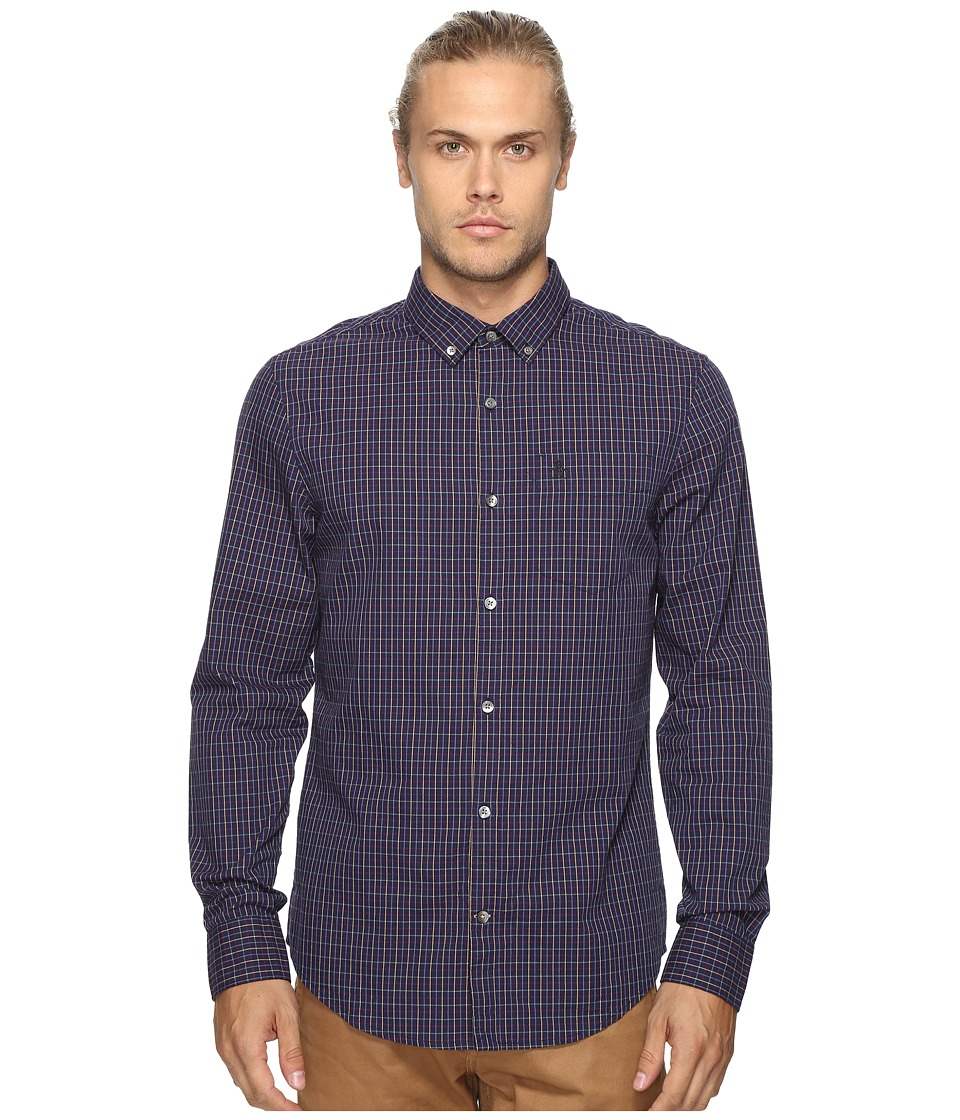 Original Penguin - Vintage Gym Long Sleeve Tattersall Check Oxford Woven Shirt (Evening Blue) Men's Long Sleeve Button Up