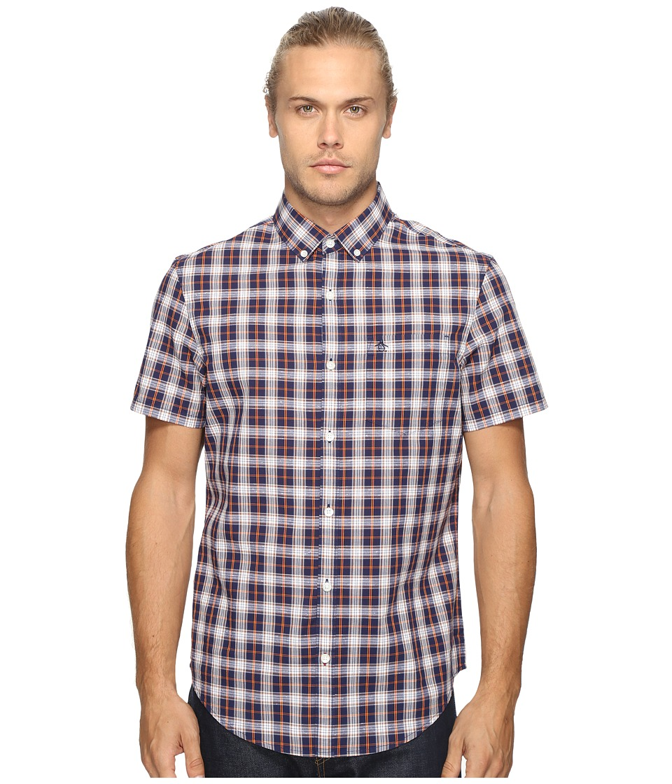 Original Penguin - Short Sleeve Slub P55 Plaid Woven Shirt (Evening Blue) Men's Long Sleeve Button Up