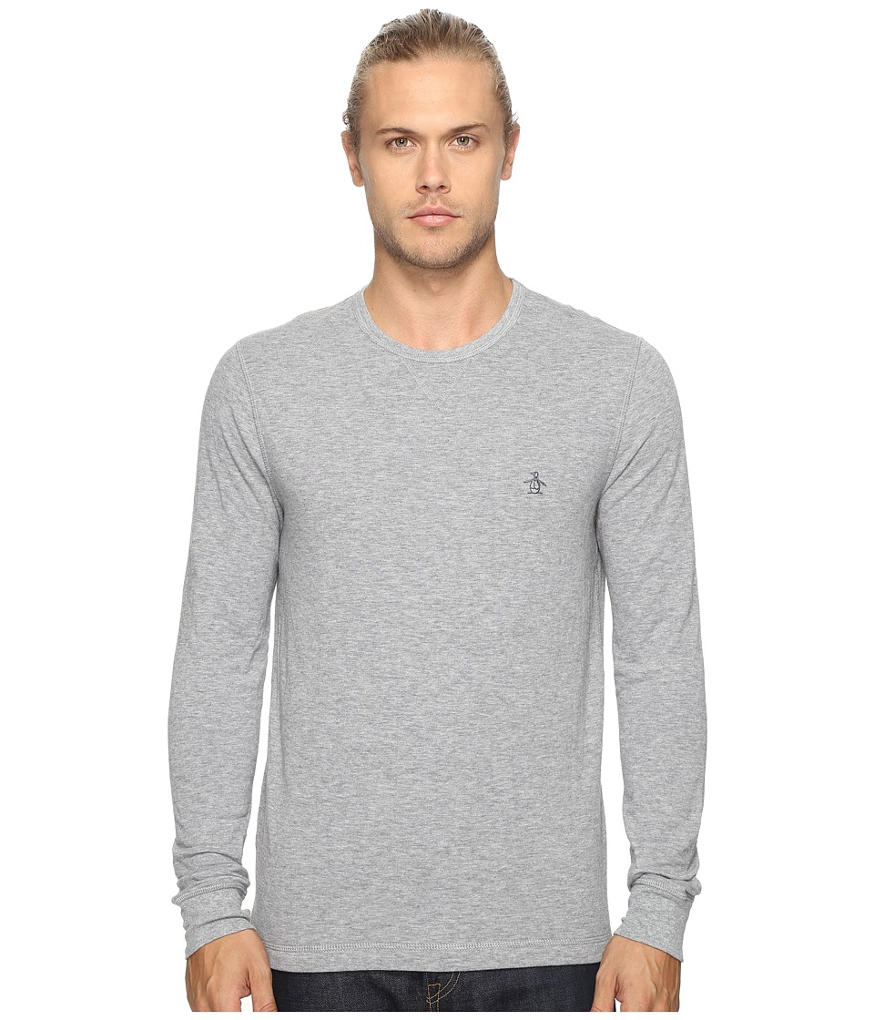 Original Penguin - Long Sleeve Reversible Tee (Athletic Grey Heather) Men's T Shirt