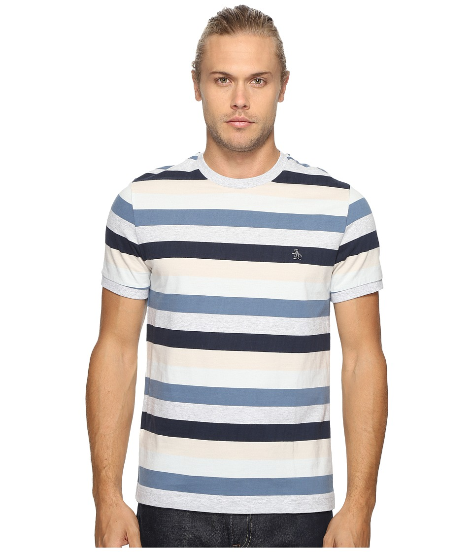 Original Penguin - Vintage Gym Short Sleeve Retro Autostripe Tee (Bering Sea) Men's T Shirt